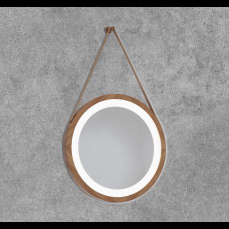 Espejo redondo con luz led encastrado en bambu Enea