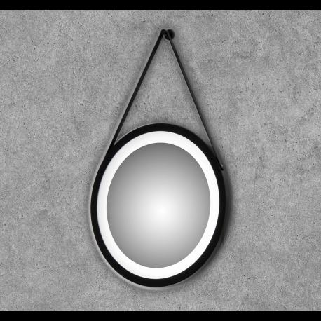 Espejo redondo con luz led con marco lacado en negro mate Enea Negro